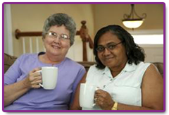 Drinking coffee and providing services for seniors in Waukesha, WI.